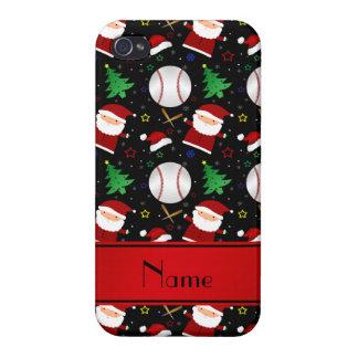 Personalized name black baseball christmas iPhone 4 cases