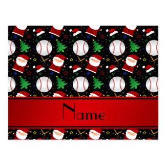 Personalized name black baseball christmas post card