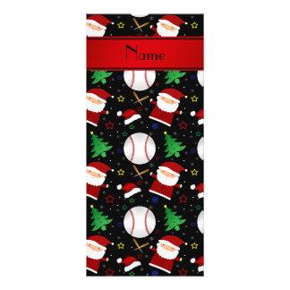 Personalized name black baseball christmas rack card design