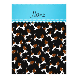 Personalized name black basset hound dogs 21.5 cm x 28 cm flyer