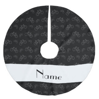 Personalized name black bicycles brushed polyester tree skirt