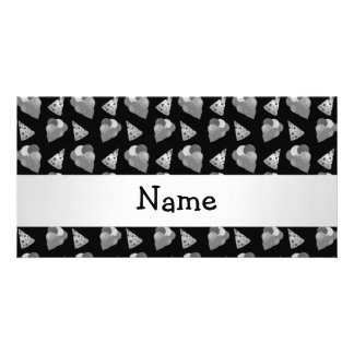 Personalized name black birthday pattern photo card template