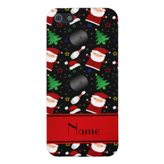 Personalized name black bowling christmas pattern iPhone 5/5S covers