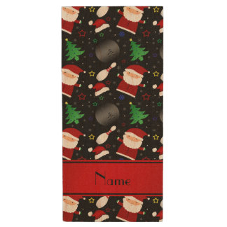 Personalized name black bowling christmas pattern wood USB 2.0 flash drive