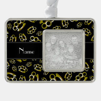 Personalized name black brass knuckles silver plated framed ornament