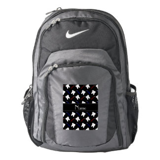 Personalized name black brushes and tooth pattern backpack