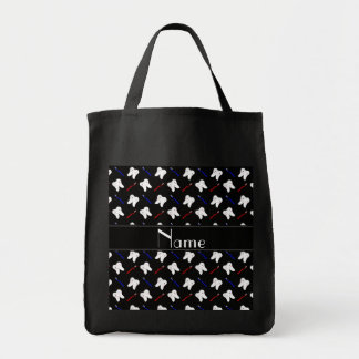 Personalized name black brushes and tooth pattern grocery tote bag