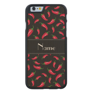 Personalized name black chili pepper carved® maple iPhone 6 slim case