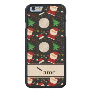 Personalized name black christmas golfing carved® maple iPhone 6 case