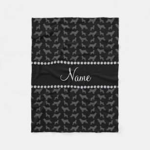 Personalized name black cocker spaniel fleece blanket 59980f632
