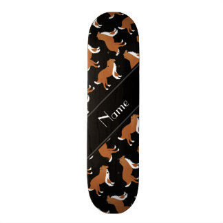 Personalized name black collie dog pattern 18.1 cm old school skateboard deck