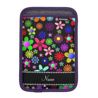 Personalized name black colorful retro flowers iPad mini sleeve