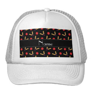 Personalized name black cricket pattern hat