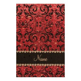 Personalized name black crimson red glitter damask photo cork paper
