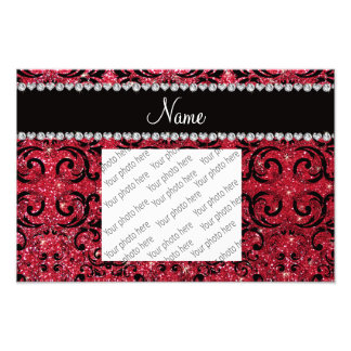 Personalized name black crimson red glitter damask photo art