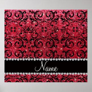 Personalized name black crimson red glitter damask print