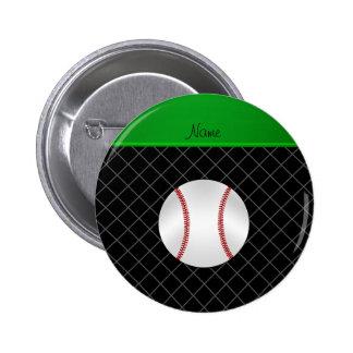 Personalized name black criss cross baseball 6 cm round badge