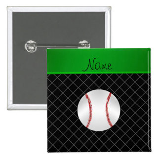 Personalized name black criss cross baseball 15 cm square badge