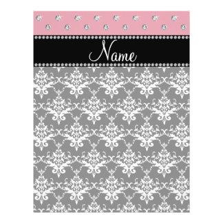 Personalized name black damask light pink diamonds full color flyer