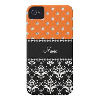 Personalized name black damask orange diamonds iPhone 4 covers