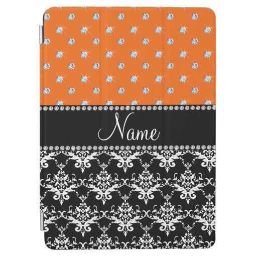 Personalized name black damask orange diamonds iPad air cover