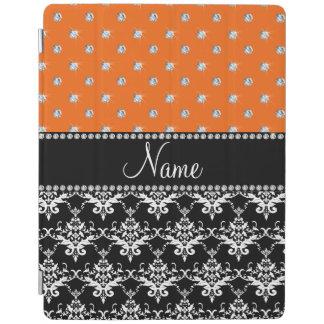 Personalized name black damask orange diamonds iPad cover