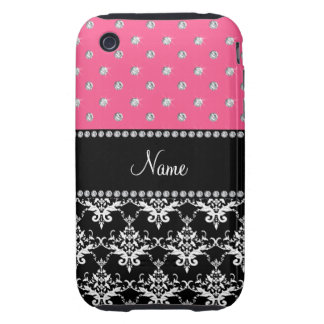 Personalized name black damask pink diamonds tough iPhone 3 case