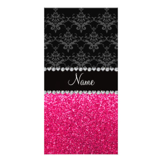 Personalized name black damask pink glitter picture card
