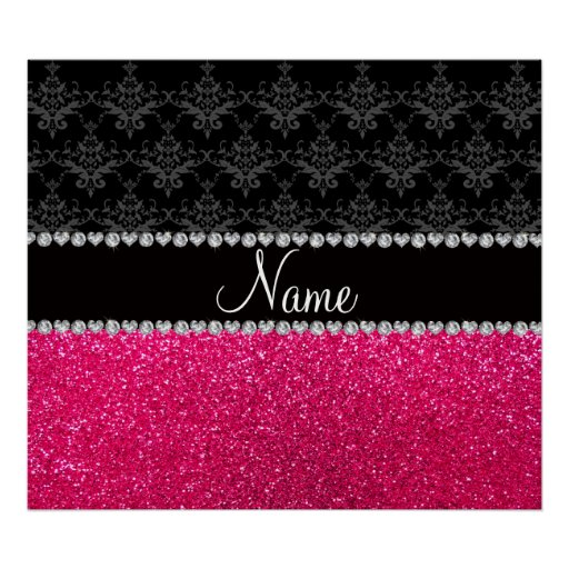 Personalized name black damask pink glitter posters