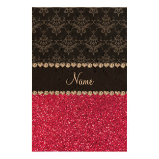 Personalized name black damask pink glitter cork paper print
