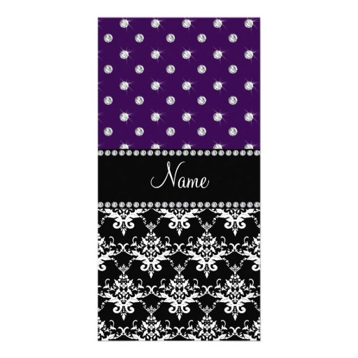 Personalized name black damask purple diamonds custom photo card