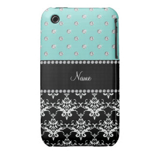 Personalized name black damask seafoam green bling Case-Mate iPhone 3 case