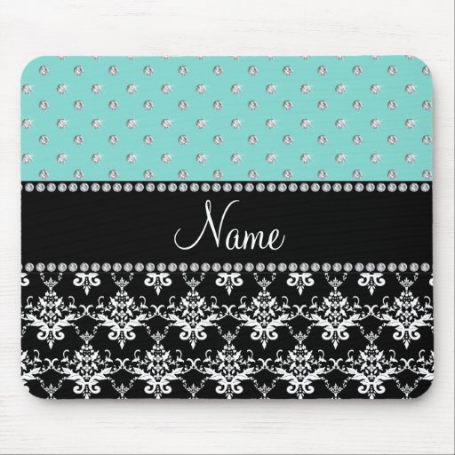 Personalized name black damask seafoam green bling mouse pads