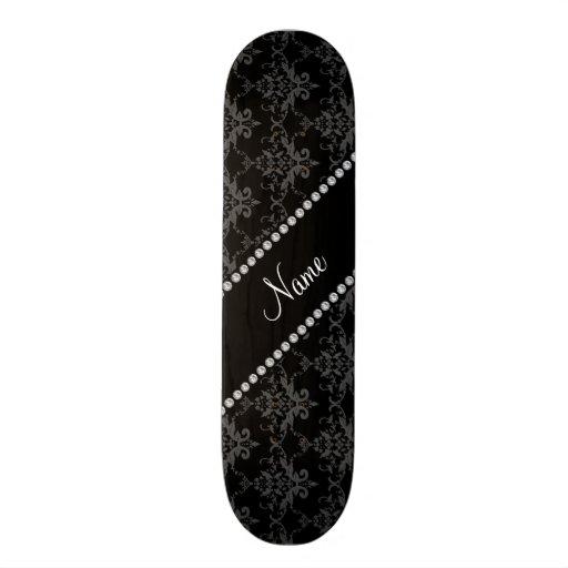 Personalized name Black damask Custom Skateboard