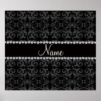 Personalized name black damask swirls poster