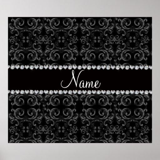 Personalized name black damask swirls posters