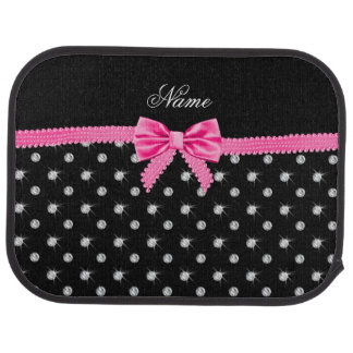 Personalized name black diamonds pink bow car mat