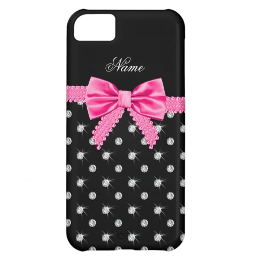 Personalized name black diamonds pink bow iPhone 5C case