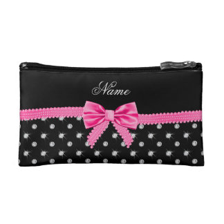 Personalized name black diamonds pink bow cosmetics bags