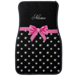 Personalized name black diamonds pink bow floor mat
