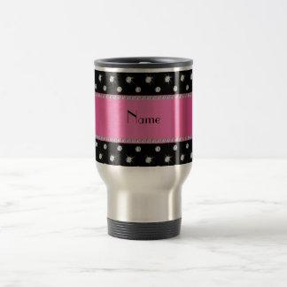 Personalized name black diamonds pink stripe mug