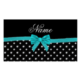 Personalized name black diamonds turquoise bow business cards