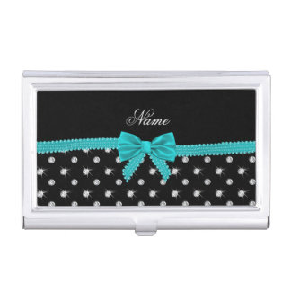 Personalized name black diamonds turquoise bow business card holder
