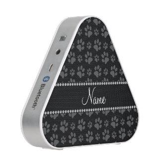 Personalized name black dog paw prints speaker