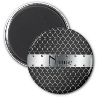 Personalized name black dragon scales 6 cm round magnet