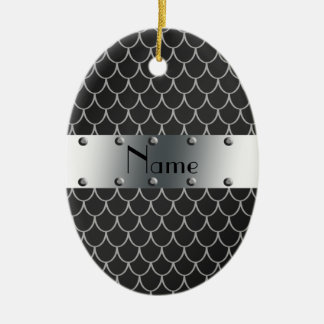 Personalized name black dragon scales christmas ornament