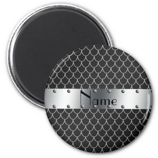 Personalized name black dragon scales magnets