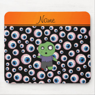 Personalized name black eyeballs zombie mouse mat