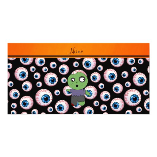 Personalized name black eyeballs zombie photo card template