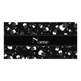 Personalized name black fencing pattern photo card